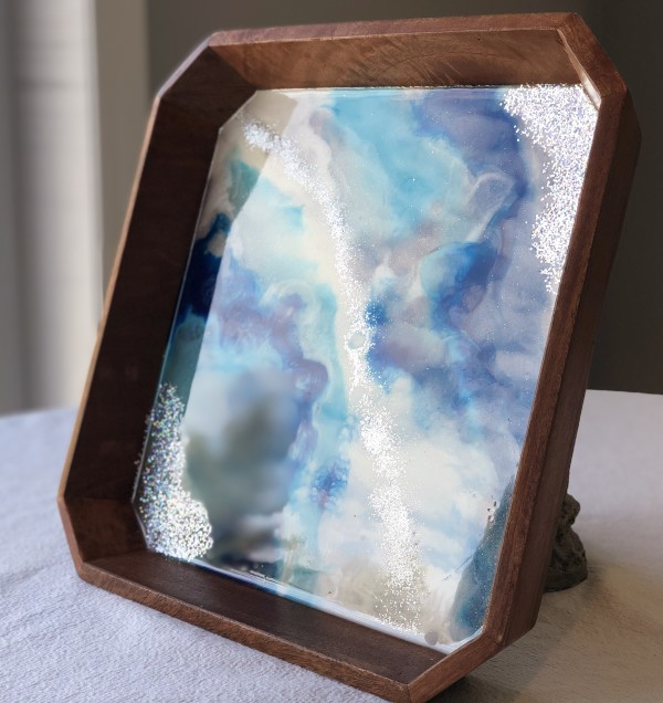 Resin Art Serving Tray - Electric Shine by Stephanie Dopheide