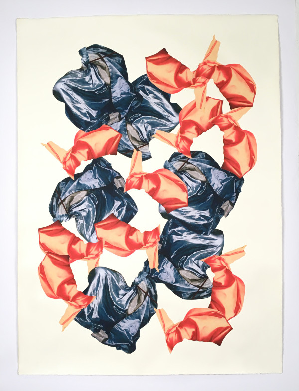 Untitled (orange and blue fabric) by Ray Beldner