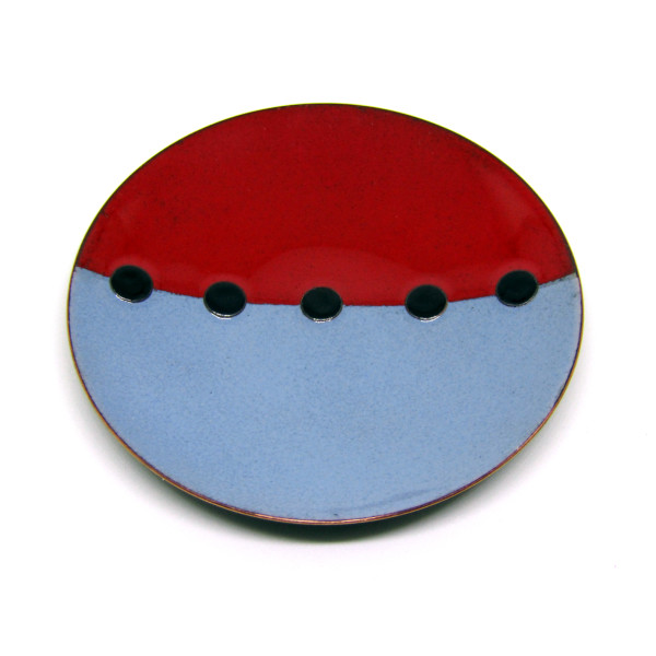 MCA131, Tricolour Red Grey Black Dish by Anne McArdle