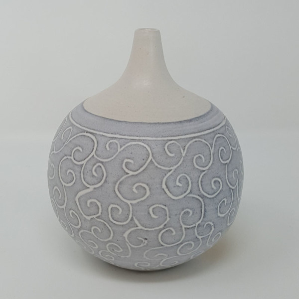 BRI050, Grey Carved Bottle by Jane Bridger