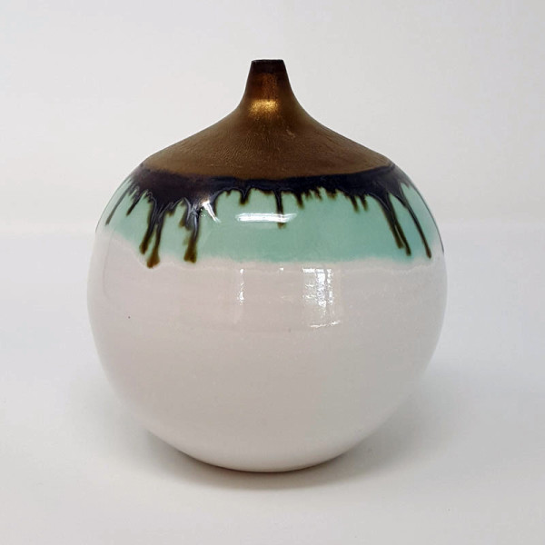 BRI055, White and Gold Bottle by Jane Bridger