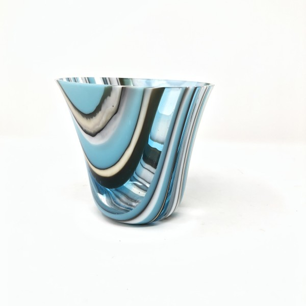 SHI076, Turquoise stripe drop vessel by Hilary Shields
