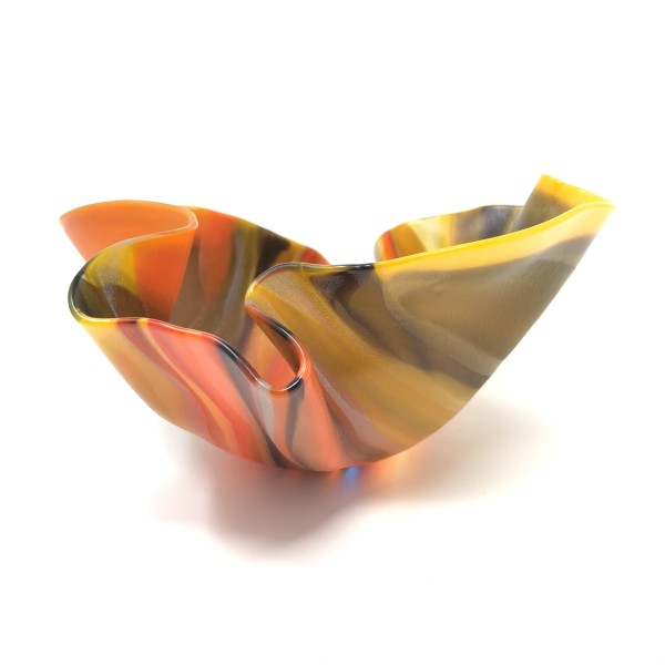 SHI324, Small Orange Drape Bowl by Hilary Shields