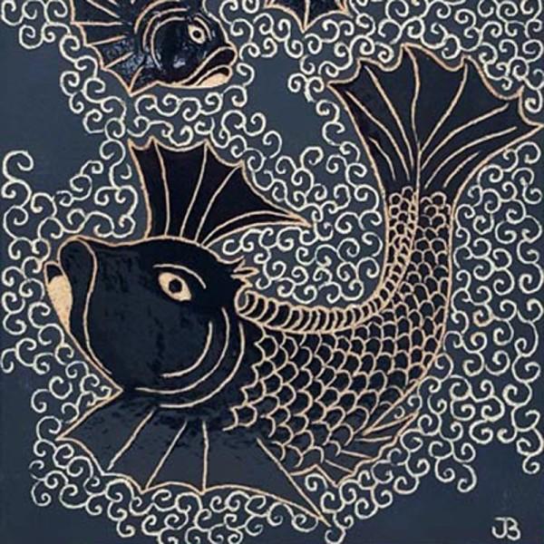 BRI035, Orange Fighting Fish by Jane Bridger