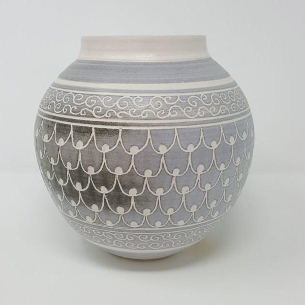 BRI061, Grey Carved Moon Jar by Jane Bridger