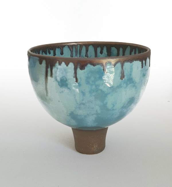 BRI063, Summer Clouds Footed Bowl by Jane Bridger
