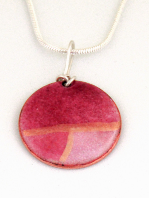 MCA164, Round Multi Pink Enamel Pendant by Anne McArdle
