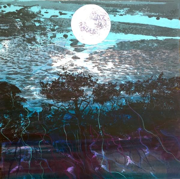MCD129, Moon Over the Beach by Ruth McDonald