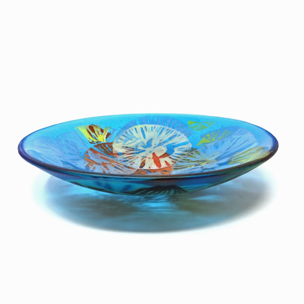 SHI093, Turquoise Allium wafer bowl by Hilary Shields