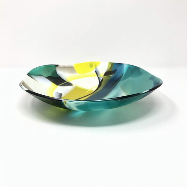 SHI306, Abstract Green Yellow bowl by Hilary Shields