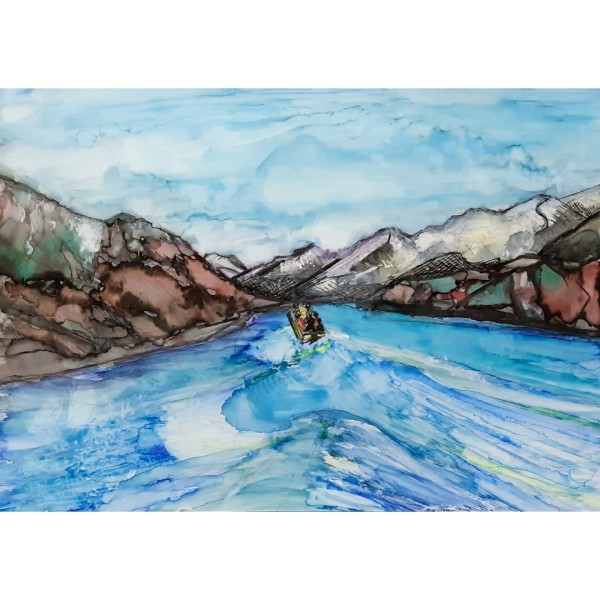Exploring the melting ice face of the Tasman Glacier by Kate Hickmott Art
