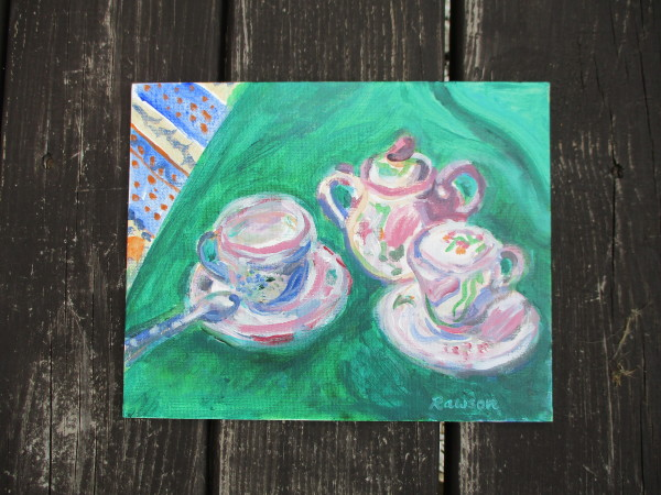Tea for Two on a Towel by Tina Rawson