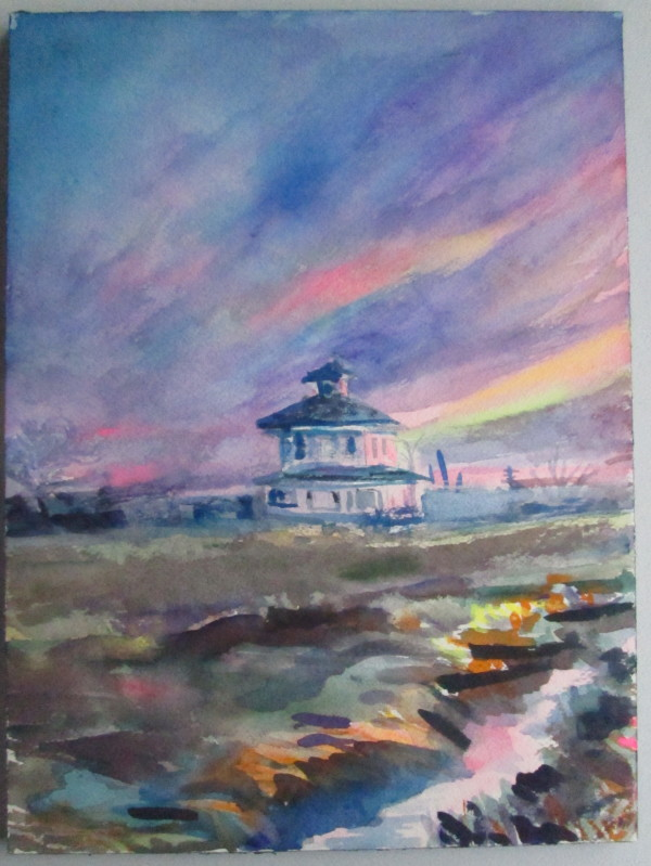 Pink Sky over Pink House by Tina Rawson