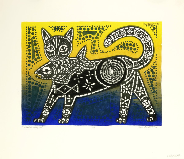 Shadow Play Cat  no. 8/9  (blue / yellow version) by Dorr Bothwell