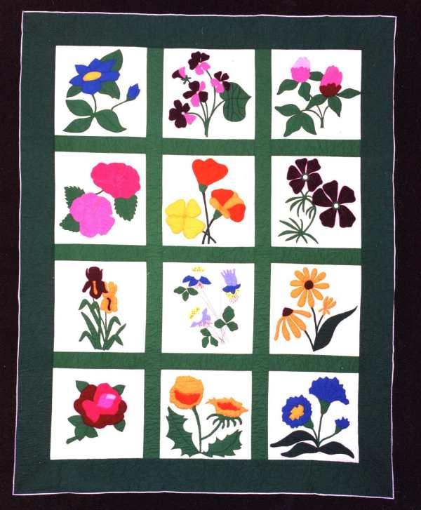 Applique Flower Quilt by Santa Clara Valley Quilt Association