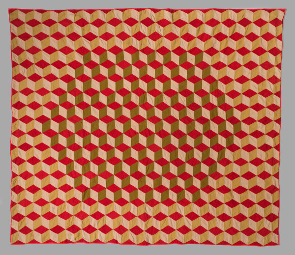 Wool Tumbling Block Quilt by Unknown Artist