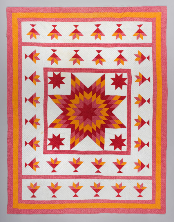 Lone Star Quilt with Tulip Border by Unknown Artist