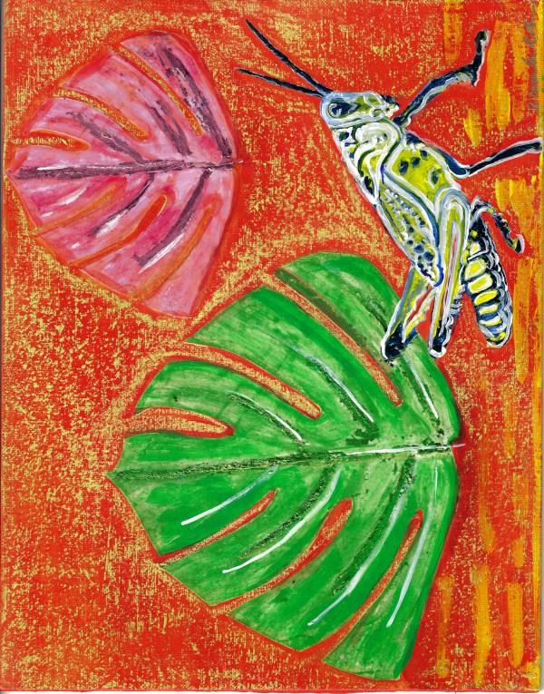 Monstera Grasshopper 1 by Alexandra Anderson Bower