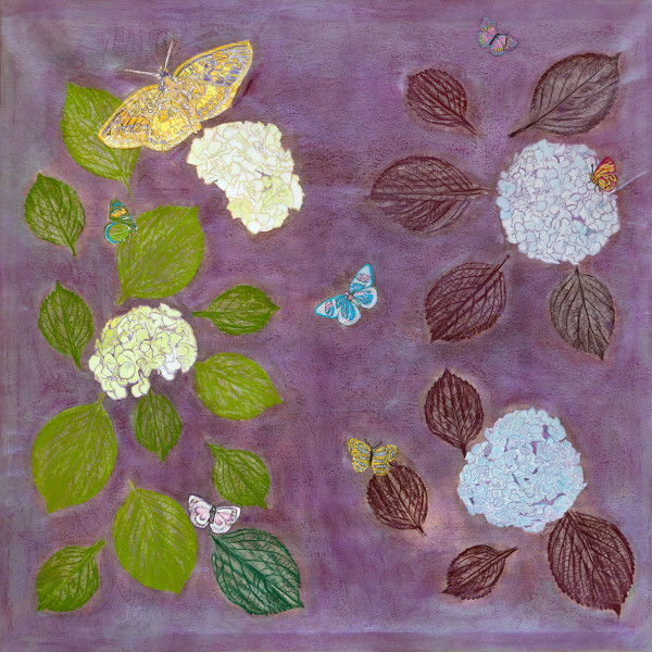 Hydrangea on Orchid with Butterflies I by Alexandra Anderson Bower