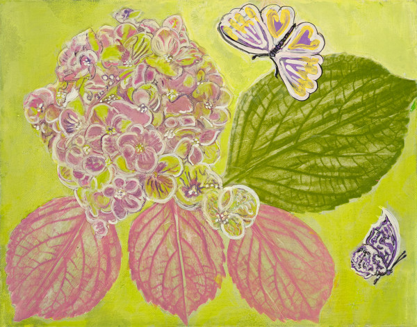 Hydrangea with Butterflies by Alexandra Anderson Bower