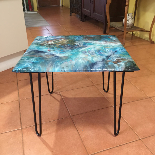 Green square coffee/patio table by Gayle Reichelt