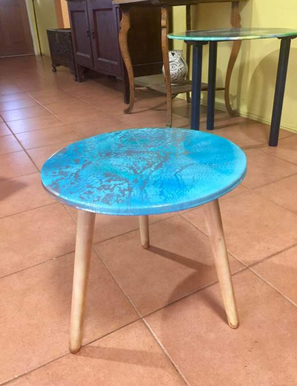 Turquoise & Silver Coffee Table 40cm by Gayle Reichelt