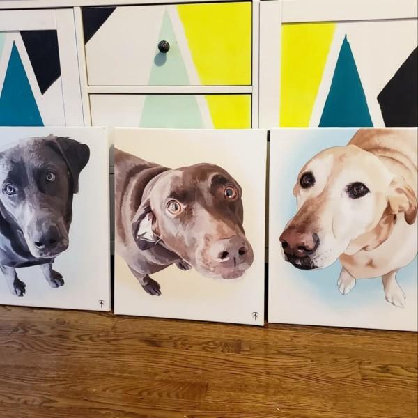 Duke, Stella, Belle Digital Pet Portrait by Talisa Almonte
