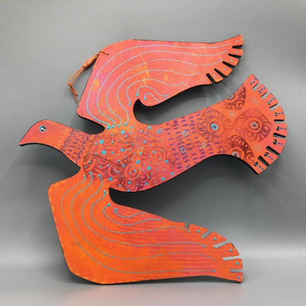 One-Sided Orange Hanging Bird, No. 05 by Steffanie Lorig