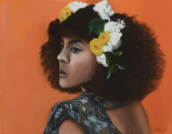 Young Woman With Flowers In Her Hair by Carolyn Kleinberger