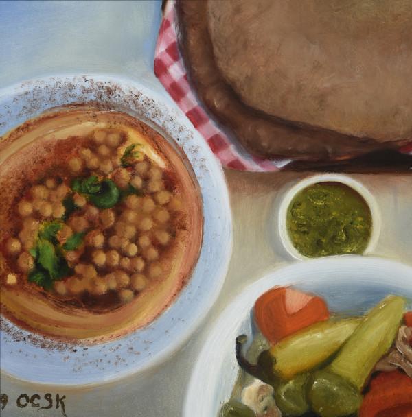 Vegan Feast With Pita by Carolyn Kleinberger
