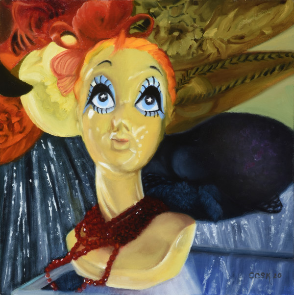 Bright Eyes with Hat and Ribbons by Carolyn Kleinberger