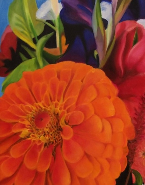 Orange Zinnia Bouquet by Carolyn Kleinberger