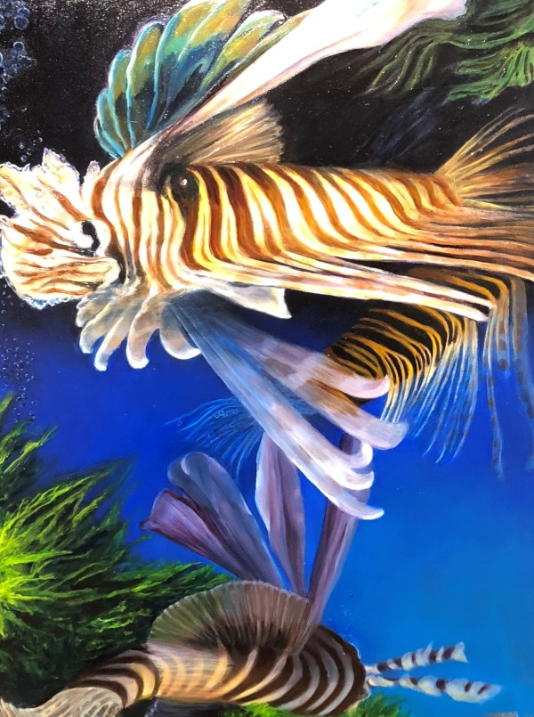 Swimming Lionfish by Carolyn Kleinberger
