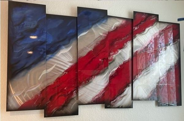 """Red, White and Blue (6 panels 12"""" x 37"""") by Chris DeRubeis"""