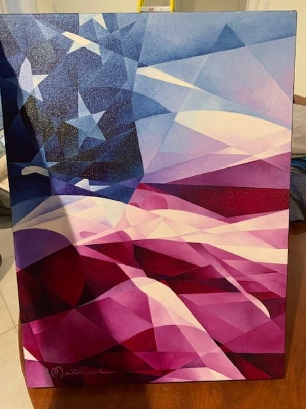 Original Commission Piece - Cubist American Flag by TJ Matousek