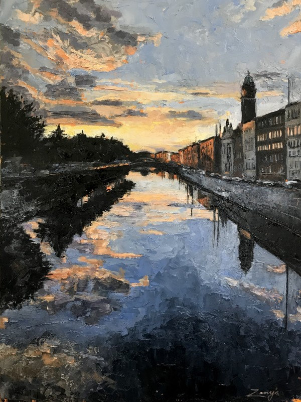 September Sunset, Mellows Bridge, Dublin 2020 by Zanya Dahl