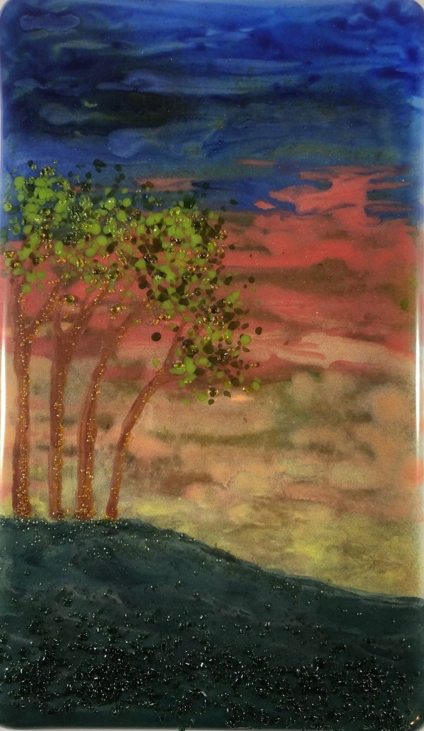 Four Trees on a Hill by Kathy Wagner
