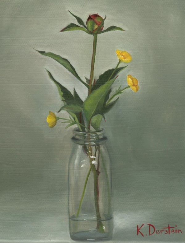 """""""Peony Bud and Buttercups"""" by Kate Derstein"""