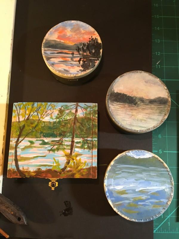 Painted tins and box by Sarah Robinson