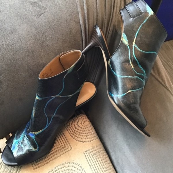 Art On Shoes Series/Collection/designs(Classic Black strap by Phyllis Thomas