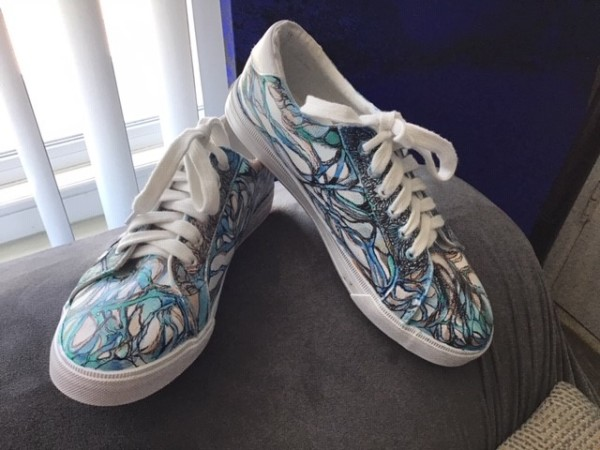 Art On Shoes Series/Collection/designs(Forest Swirls) by Phyllis Thomas