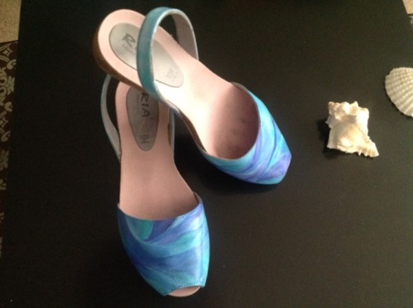 Art On Shoes Series/Collection/designs, (Coastal Flow Design) by Phyllis Thomas