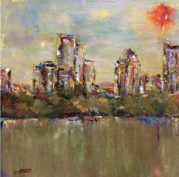 Atlanta Cityscape at Piedmont Park by Kathy Stiber