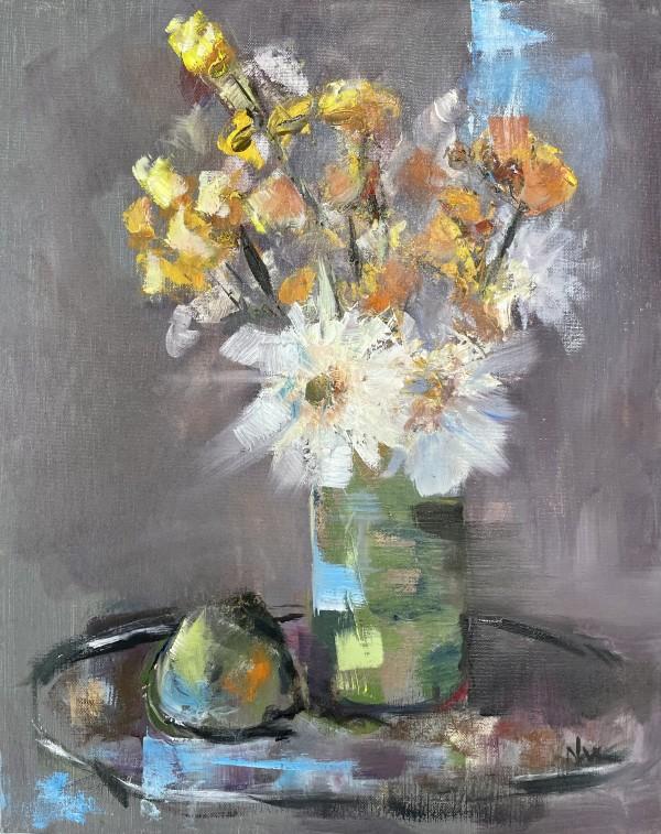 Flowers in Green Vase by Nancy Lee