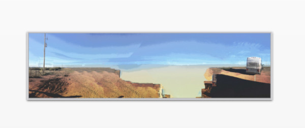 ROAD TRIP GONE BAD: DIGITALLY ENHANCED COLLAGED PHOTOGRAPH UNDER ACRYLIC GLASS AND FRAMED  IN ALUMINUM ART BOX by judith angerman