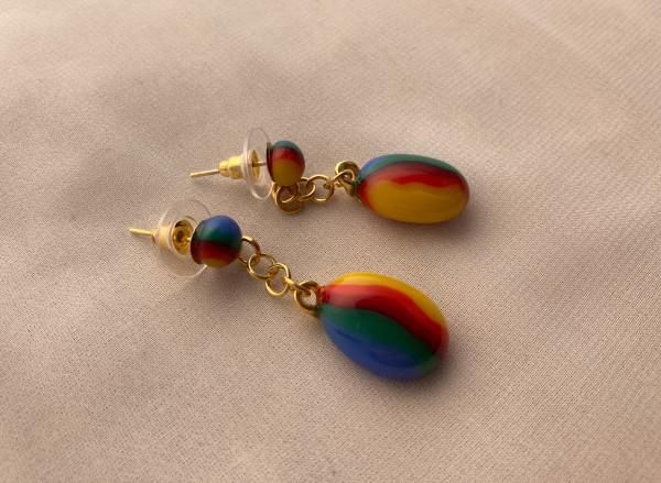 Fused Glass Earrings #33 by Shayna Heller
