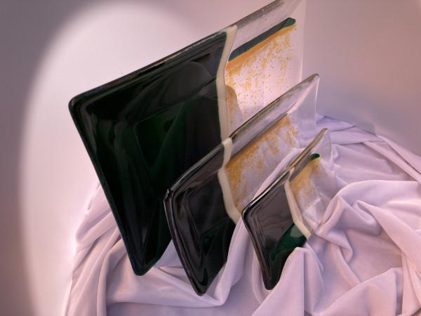 3-Piece Serving Dish Set - Glitter Green by Shayna Heller