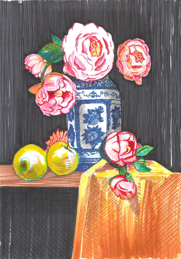 Peonies and roses by Eima BLANK