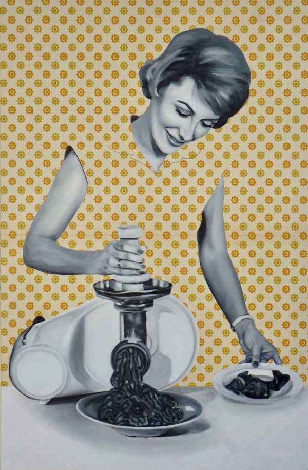 Geraldine Grinding Meat by Kristina Kanders