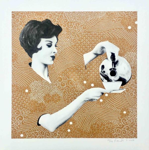 Screen Print Rebecca gold-brown by Kristina Kanders